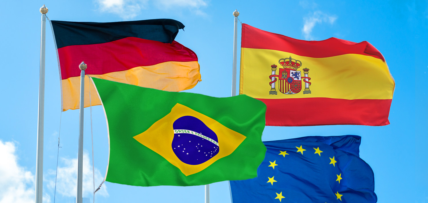Flags of Brazil, Spain, Germany and Europe