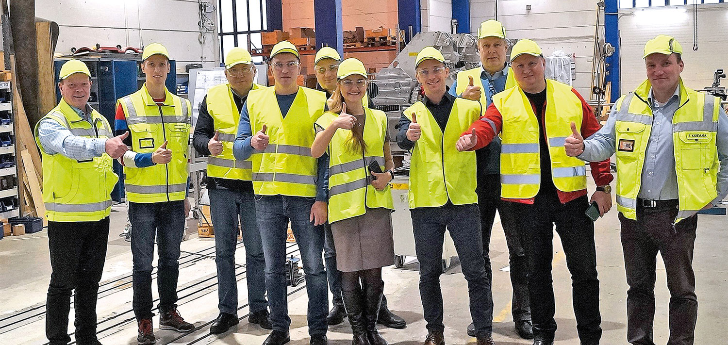 The team from Russia convinced themselves of the quality of the headboxes on site in Finland